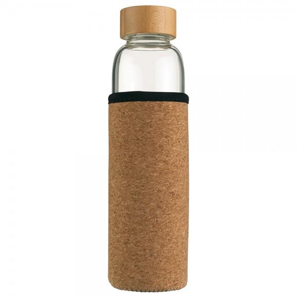 INDAUR Trinkflasche aus Borosilikatglas mit Schutzhülle